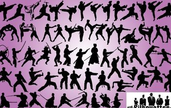 Silhouette Martial Art Pack - Free vector #173671