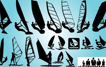 Windsurfing Pack Silhouette - vector gratuit #173701