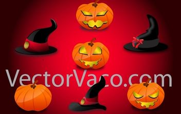 Witch Hats and Pumpkins for Halloween - Free vector #173731
