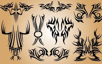 Stylish Tribal Tattoo Pack - Free vector #173741