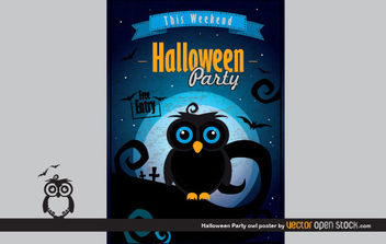 Halloween Party Owl Poster - vector gratuit #173791