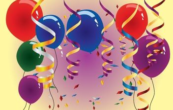 Balloons and Streamers on Happy Moment - Free vector #173971