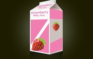 Strawberry Milk Packet Template - vector gratuit #174071