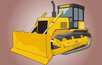 High Detail Yellow Bulldozer - vector gratuit #174211