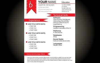 Red Basic Resume Template - vector #174221 gratis