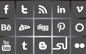 Black & White Social Media Icon Pack - Free vector #174461