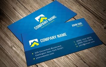 Cool Blue Vector Business Card Template - Free vector #174651