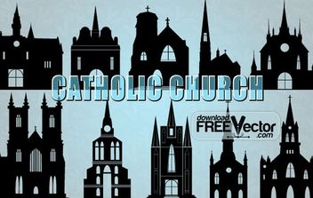 Silhouettes Catholic Church - vector gratuit #174871