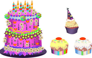 Birthday Cupcakes - vector gratuit #175381