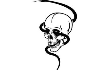Skull With Black Snake - Free vector #175601