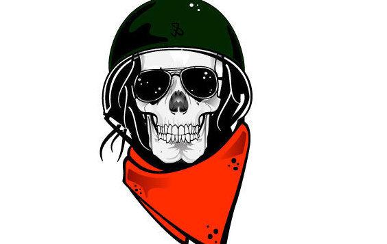 Skull In Military Helmet Vector - Free vector #175771