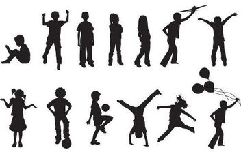 Free Vector Children Silhouettes - Free vector #175831