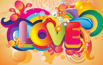 Colorful Love Background Vector Art - vector gratuit #176031