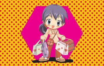 Anime Shopping Girl Vector - Free vector #176071