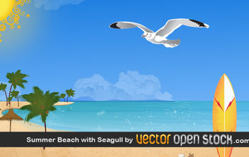 Summer beach with seagull - Free vector #176321