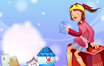Christmas card with a girl and gifts - бесплатный vector #176671