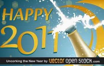 Uncorking the New Year - vector gratuit #176771