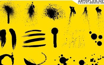 Stroke, ink and spray free vector on yellow background - vector gratuit(e) #177241