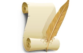 Old paper with feather - Free vector #177801