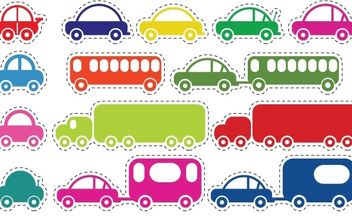 Toy Cars and Bus Vector - Free vector #178631