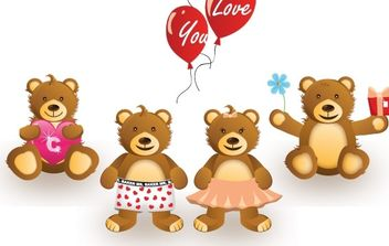Cute Bears - vector gratuit #178941