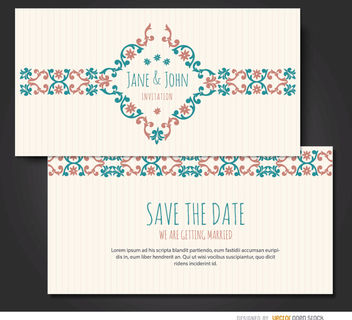 Marriage invitation floral riband - Kostenloses vector #179521