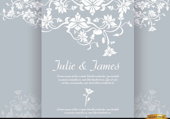 Floral triptych brochure marriage invitation - vector #179561 gratis
