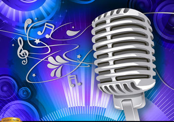 Microphone musical background - vector gratuit #179581