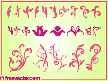 Curvy Blooming Flower Pack Silhouette - бесплатный vector #179641