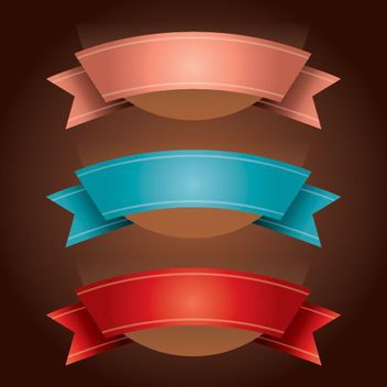 Curvy Folded Colorful Ribbons - vector #179711 gratis
