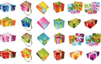 24 colorful gift Boxes - vector gratuit #179771