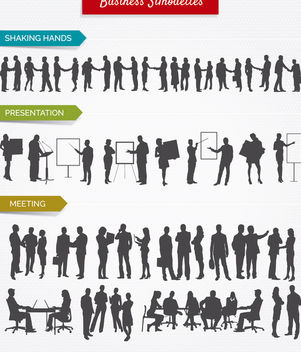 Business Silhuettes shaking hands, presentation and meetings - Free vector #179901