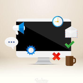 Various Icons with Monitor - Free vector #179971
