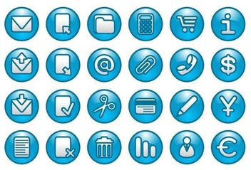 Blue Web Buttons with Simplistic Icons - Free vector #180141
