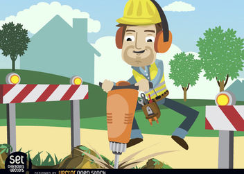 Worker drilling ground with barricades - vector gratuit #180171