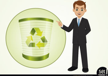 Businessman Presenting Recycle Process - vector gratuit #180241