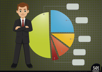 Young Businessman with Infographic Pie Chart - vector gratuit #180251