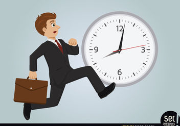 Businessman late running - Free vector #180261