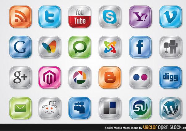 Social Media Metal Icons - Free vector #180301
