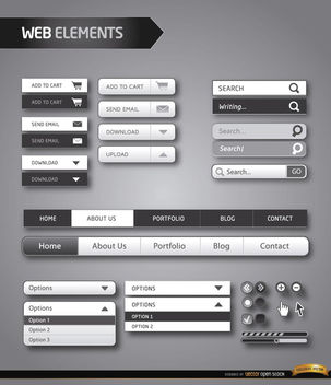 Website menu elements black and white - vector gratuit(e) #180451