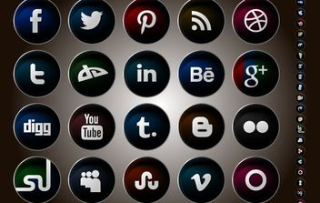 Colorful Rounded Social Media Icon Pack - Free vector #180641