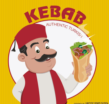 Kebab doner turkish cartoon - бесплатный vector #180691
