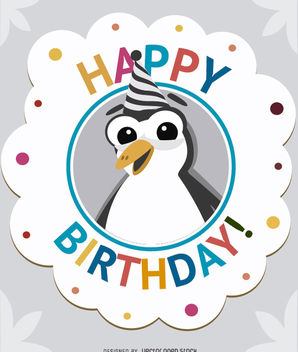 Birthday cartoon penguin card - Free vector #180711