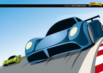 Racing cars competition cartoon - Free vector #180761