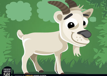 Goat on the grass cartoon animal - Free vector #180821