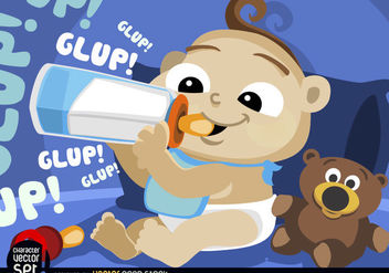 Baby drinking milk in feeding bottle - vector gratuit #180921