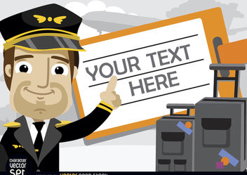 Pilot with luggage and travel ticket text - бесплатный vector #180941