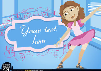 Girl in ballet practice with frame text - vector gratuit #180951