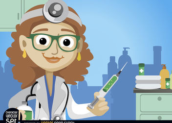 Female doctor with medicine injection - vector gratuit #180971