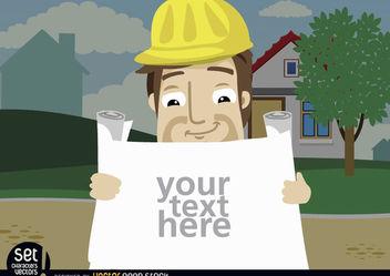 Construction employee looking plans text - vector gratuit #181001